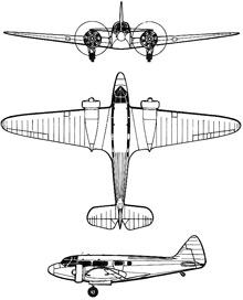 Plan 3 vues du Airspeed AS.6 Envoy
