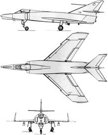 Plan 3 vues du Dassault  Étendard IV