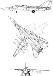 Plan 3 vues du General Dynamics F-111 Aardvark