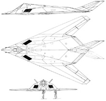 Plan 3 vues du Lockheed-Martin F-117 Night Hawk