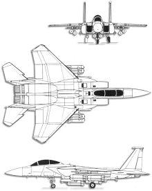 Plan 3 vues du McDonnell F-15E Strike Eagle