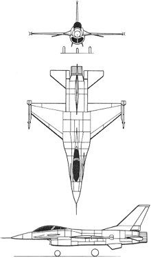Plan 3 vues du General Dynamics F-16 Fighting Falcon