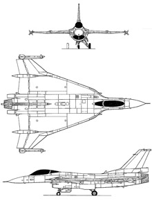 Plan 3 vues du General Dynamics F-16XL