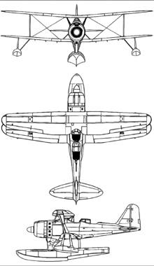 Plan 3 vues du Mitsubishi F1M  'Pete'
