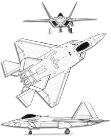 Plan 3 vues du Lockheed F-22 Raptor