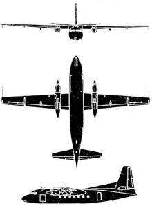 Plan 3 vues du Fokker F27 Troopship