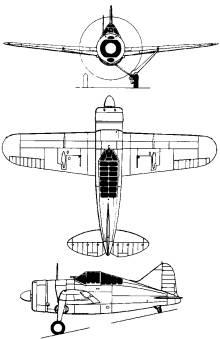 Plan 3 vues du Brewster F2A Buffalo
