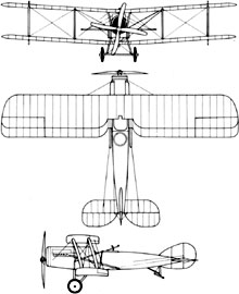 Plan 3 vues du Bristol F.2B Fighter