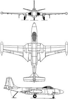 Plan 3 vues du McDonnell F2H Banshee