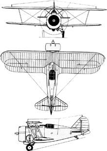 Plan 3 vues du Grumman F3F