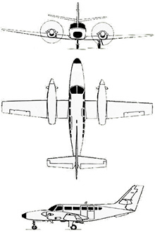 Plan 3 vues du Reims Aviation F406 Caravan II