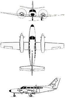 Plan 3 vues du Reims Aviation F406 Caravan II