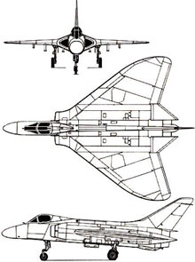 Plan 3 vues du Douglas F4D Skyray