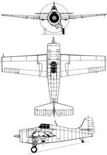 Plan 3 vues du Grumman F4F Wildcat