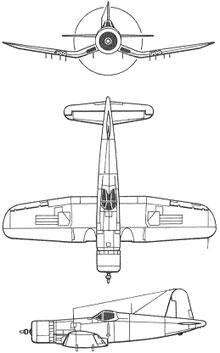 Plan 3 vues du Vought F4U Corsair