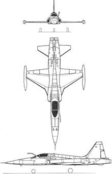 Plan 3 vues du Northrop F-5 Tiger II