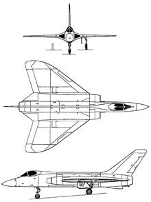 Plan 3 vues du Douglas F5D Skylancer