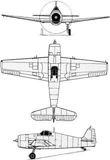 Plan 3 vues du Grumman F6F Hellcat