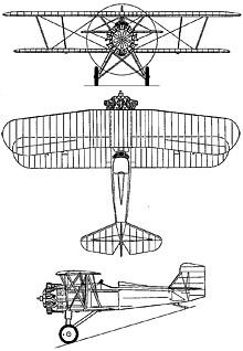 Plan 3 vues du Curtiss F7C Seahawk
