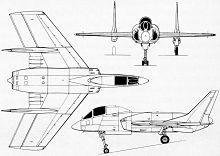 Plan 3 vues du Vought F7U Cutlass