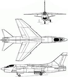 Plan 3 vues du Vought (L.T.V.) F-8 Crusader