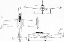 Plan 3 vues du Republic F-84 Thunderjet