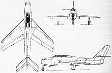 Plan 3 vues du Republic F-84F Thunderstreak