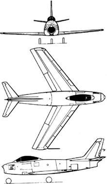 Plan 3 vues du North American F-86 Sabre