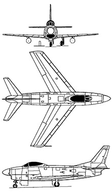 Plan 3 vues du North American F-86D/K Sabre Dog
