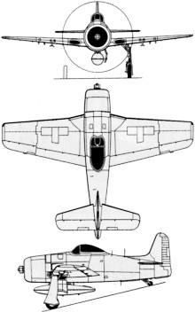 Plan 3 vues du Grumman F8F Bearcat