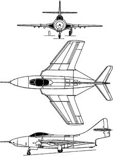 Plan 3 vues du Grumman F-9 Cougar