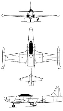 Plan 3 vues du Lockheed F-94 Starfire