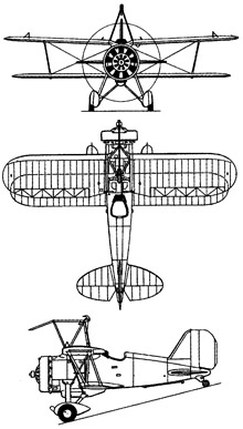 Plan 3 vues du Curtiss F9C Sparrowhawk