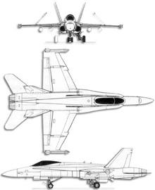 Plan 3 vues du McDonnell-Douglas F/A-18 Hornet