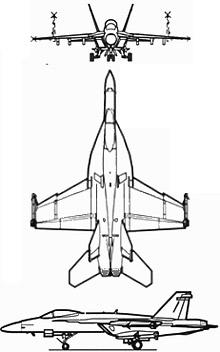 Plan 3 vues du Boeing F/A-18E/F Super Hornet