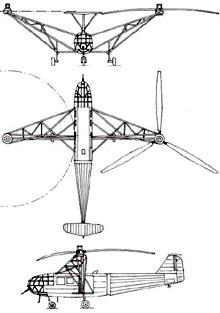 Plan 3 vues du Focke-Achgelis Fa 223 Drache