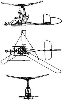 Plan 3 vues du Focke-Achgelis Fa-330 Bachstelze