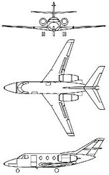 Plan 3 vues du Dassault  Falcon 10 MER
