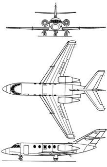 Plan 3 vues du Dassault Mystère XX / Falcon 20
