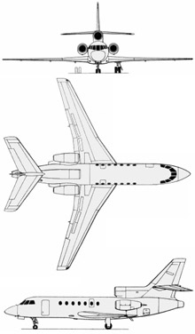 Plan 3 vues du Dassault Aviation Falcon 50M