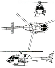 Plan 3 vues du Eurocopter AS-555 Fennec