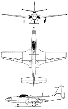Plan 3 vues du McDonnell FH Phantom