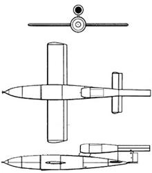Plan 3 vues du Fieseler Fi 103  'V1'