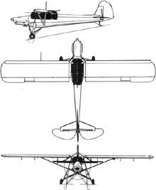Plan 3 vues du Fieseler Fi 156 Storch