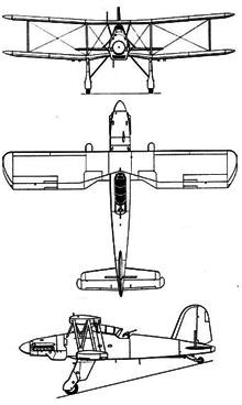 Plan 3 vues du Fieseler Fi 167