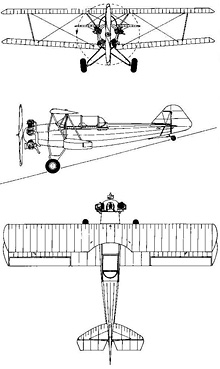 Plan 3 vues du Fleet 16B/16D/16R Finch