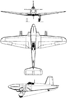 Plan 3 vues du Blackburn B-37 Firebrand