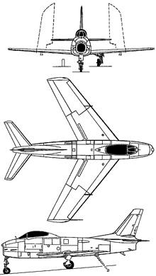 Plan 3 vues du North American FJ Fury