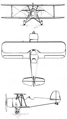 Plan 3 vues du Koolhoven FK.51