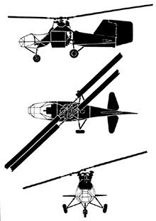 Plan 3 vues du Flettner Fl 282 Kolibri